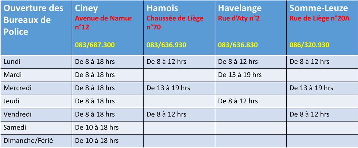 horaires ouverture Police 01112018